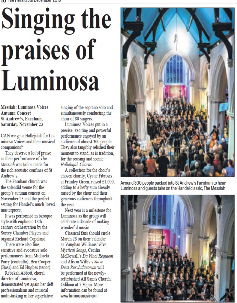 Singing the Praises of Luminosa Messiah Review 2019